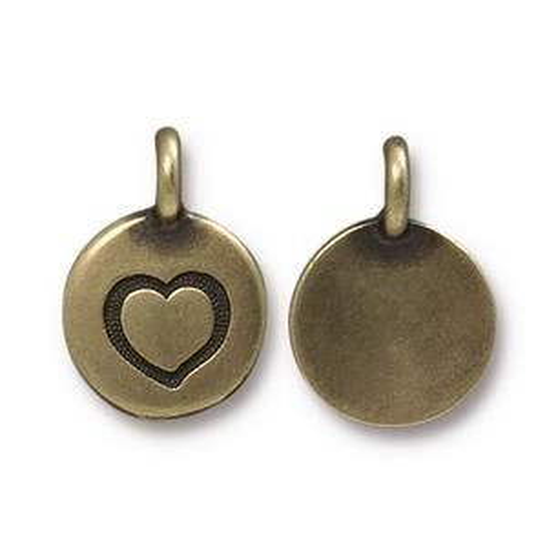 Charm Heart Brass Oxide - Pkg of 20 TierraCast® Britannia Pewter