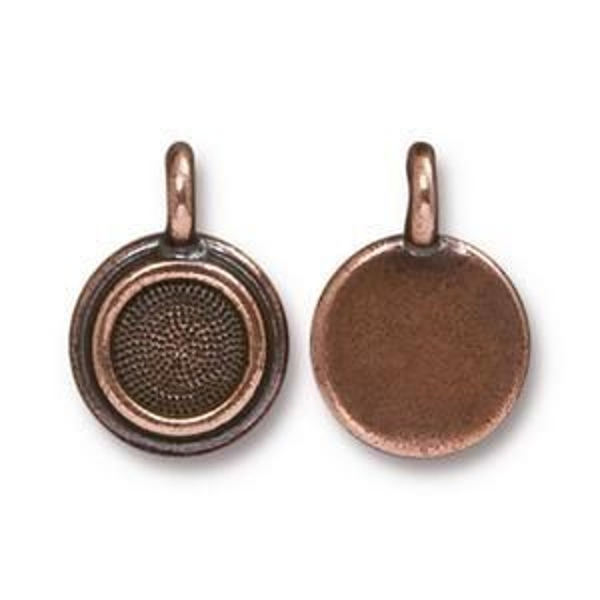 Charm Ss34 Stepped Bezel Antique Copper - Pkg of 20 TierraCast® Britannia Pewter