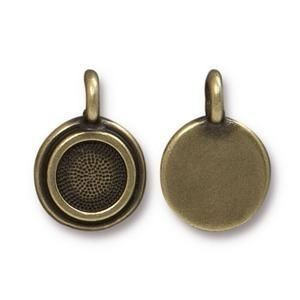 Charm Ss34 Stepped Bezel Brass Oxide - Pkg of 20 TierraCast® Britannia Pewter