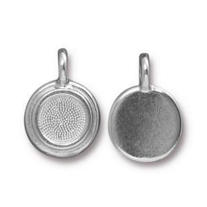 Charm Ss34 Stepped Bezel Bright Rhodium - Pkg of 20 TierraCast® Britannia Pewter