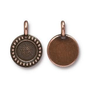 Charm Ss34 Beaded Bezel Antique Copper - Pkg of 20 TierraCast® Britannia Pewter