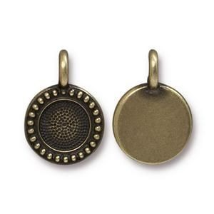 Charm Ss34 Beaded Bezel Brass Oxide - Pkg of 20 TierraCast® Britannia Pewter