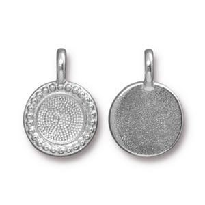 Charm Ss34 Beaded Bezel Bright Rhodium - Pkg of 20 TierraCast® Britannia Pewter
