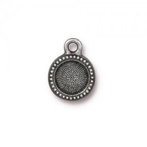 Charm SS34 Bezel 10mm Antique Pewter - Pkg of 20 TierraCast® Britannia Pewter