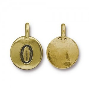 Number 0 Charm - Pkg of 10 TierraCast® Bright Gold
