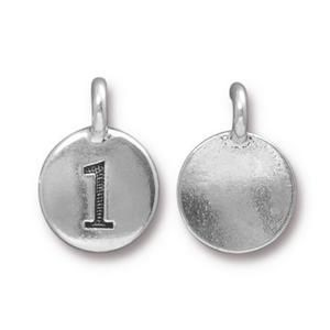 Charm Number 1 Antique Silver - Pkg of 20 TierraCast® Britannia Pewter