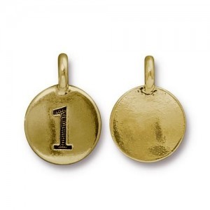 Number 1 Charm - Pkg of 20 TierraCast® Bright Gold