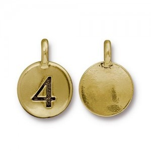 Number 4 Charm - Pkg of 10 TierraCast® Bright Gold