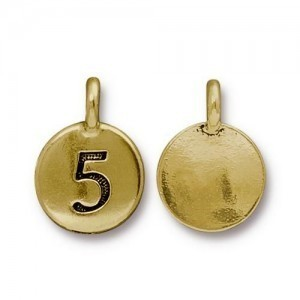 Number 5 Charm - Pkg of 10 TierraCast® Bright Gold