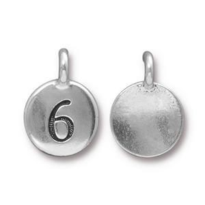 Charm Number 6 Antique Silver - Pkg of 20 TierraCast® Britannia Pewter