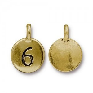 Number 6 Charm - Pkg of 20 TierraCast® Bright Gold