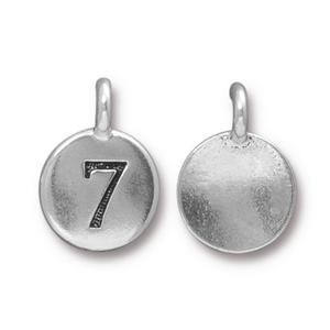 Charm Number 7 Antique Silver - Pkg of 20 TierraCast® Britannia Pewter