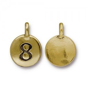 Number 8 Charm - Pkg of 10 TierraCast® Bright Gold