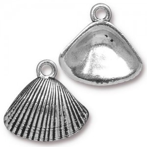 Shell Charm Antiqued Silver Plate - Pkg of 20 TierraCast®