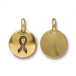 Ribbon Charm Antiqued Gold Plate - Pkg of 20 TierraCast®