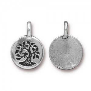 Tree Charm Antiqued Silver Plate - Pkg of 20 TierraCast®