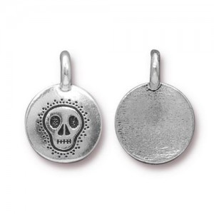 Skull Charm Antiqued Silver Plate - Pkg of 20 TierraCast®