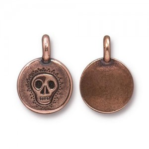 Skull Charm Antiqued Copper Plate - Pkg of 20 TierraCast®