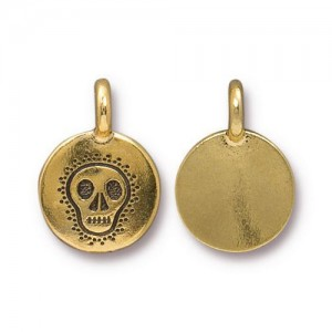 Skull Charm Antiqued Gold Plate - Pkg of 20 TierraCast®