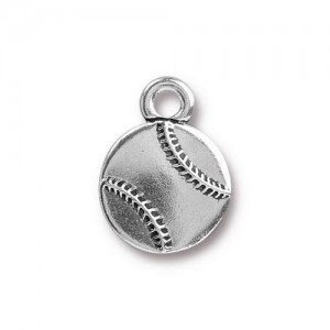 12.8mm Baseball Antique Silver - Pkg of 20 TierraCast® Britannia Pewter
