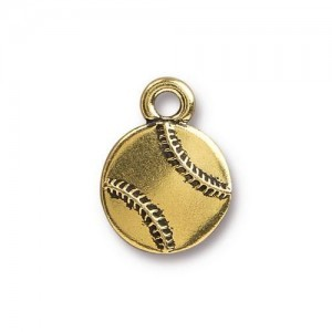 12.8mm Baseball Antique Gold - Pkg of 20 TierraCast® Britannia Pewter