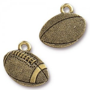 18mm Football Antique Gold - Pkg of 20 TierraCast® Britannia Pewter