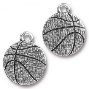 15.8mm Basketball Antique Silver - Pkg of 20 TierraCast® Britannia Pewter