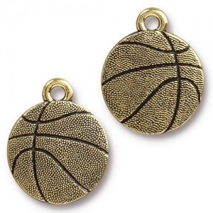 15.8mm Basketball Antique Gold - Pkg of 20 TierraCast® Britannia Pewter