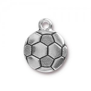 15.5mm Soccer Ball Antique Silver - Pkg of 20 TierraCast® Britannia Pewter