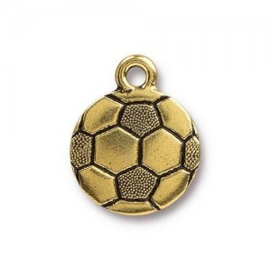 15.5mm Soccer Ball Antique Gold - Pkg of 20 TierraCast® Britannia Pewter