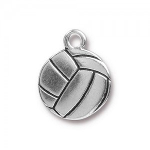 15.5mm Volleyball Antique Silver - Pkg of 20 TierraCast® Britannia Pewter