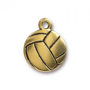 15.5mm Volleyball Antique Gold - Pkg of 20 TierraCast® Britannia Pewter