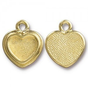 14.9mm Stepped Heart Frame Charm Bright Gold - Pkg of 20 TierraCast® Britannia Pewter