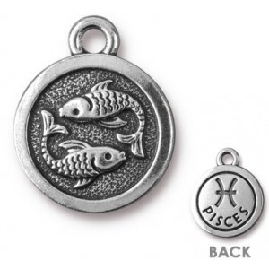 15.25mm Two-Sided Zodiac Charm Pisces Antique Silver - Pkg of 20 TierraCast® Britannia Pewter