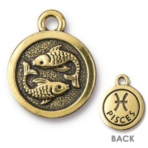 15.25mm Two-Sided Zodiac Charm Pisces Antique Gold - Pkg of 20 TierraCast® Britannia Pewter