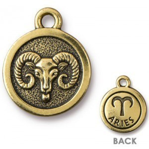15.25mm Two-Sided Zodiac Charm Aries Antique Gold - Pkg of 20 TierraCast® Britannia Pewter