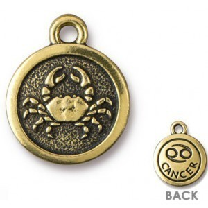 15.25mm Two-Sided Zodiac Charm Cancer Antique Gold - Pkg of 20 TierraCast® Britannia Pewter