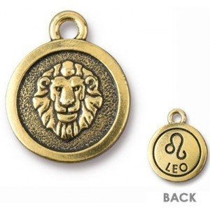 15.25mm Two-Sided Zodiac Charm Leo Antique Gold - Pkg of 20 TierraCast® Britannia Pewter