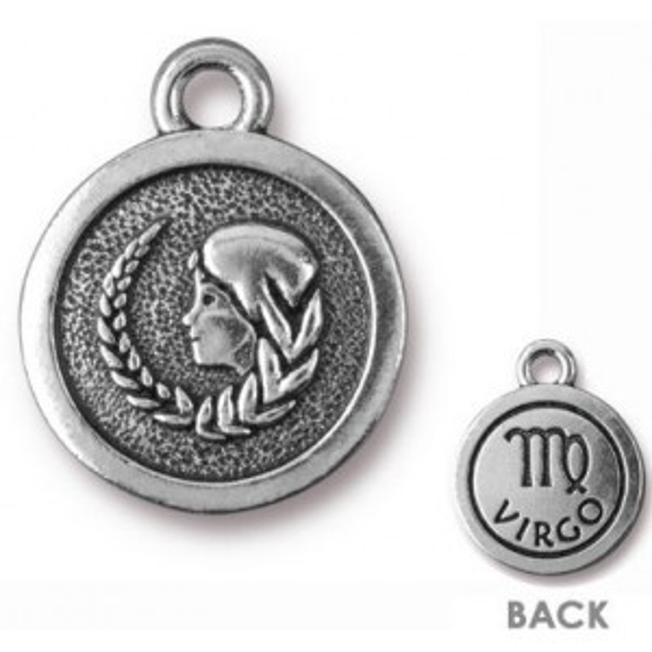 15.25mm Two-Sided Zodiac Charm Virgo Antique Silver - Pkg of 20 TierraCast® Britannia Pewter