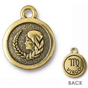 15.25mm Two-Sided Zodiac Charm Virgo Antique Gold - Pkg of 20 TierraCast® Britannia Pewter