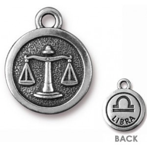 15.25mm Two-Sided Zodiac Charm Libra Antique Silver - Pkg of 20 TierraCast® Britannia Pewter