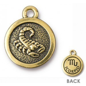 15.25mm Two-Sided Zodiac Charm Scorpio Antique Gold - Pkg of 20 TierraCast® Britannia Pewter