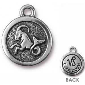 15.25mm Two-Sided Zodiac Charm Capricorn Antique Silver - Pkg of 20 TierraCast® Britannia Pewter