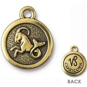 15.25mm Two-Sided Zodiac Charm Capricorn Antique Gold - Pkg of 20 TierraCast® Britannia Pewter