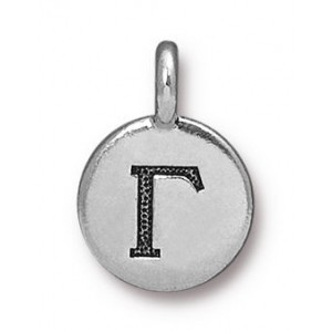 11.75mm Greek Alphabet Charm Gamma Antique Silver - Pkg of 20 TierraCast® Britannia Pewter
