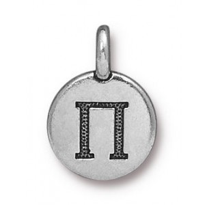 11.75mm Greek Alphabet Charm Pi Antique Silver - Pkg of 20 TierraCast® Britannia Pewter