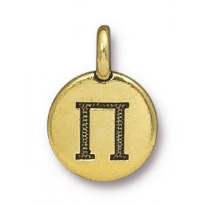 11.75mm Greek Alphabet Charm Pi Antique Gold - Pkg of 20 TierraCast® Britannia Pewter