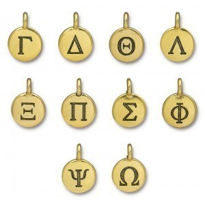 11.75mm Greek Alphabet Charm Mix 10ea X10 Antique Gold - TierraCast® Britannia Pewter