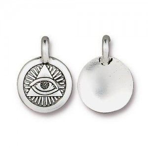 Charm Eye of Providence 12mm Antique Silver - Pkg of 20 TierraCast® Britannia Pewter