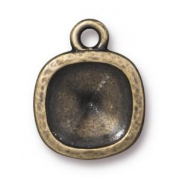 Cushion Frame Hammered 10mm Brass Oxide - Pkg of 20 TierraCast® Britannia Pewter